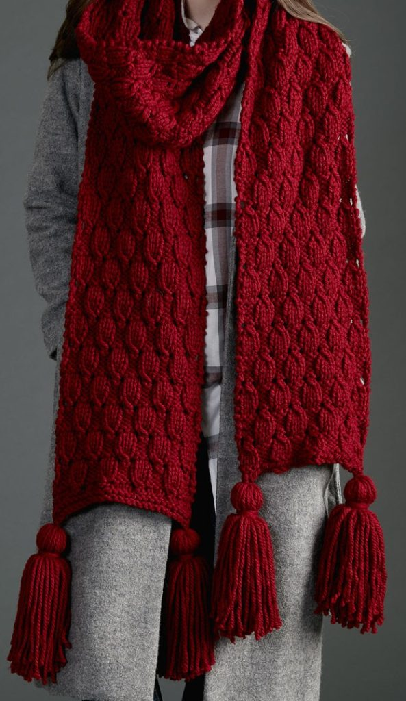 Free Knitting Pattern for Easy Make It Big Super Scarf