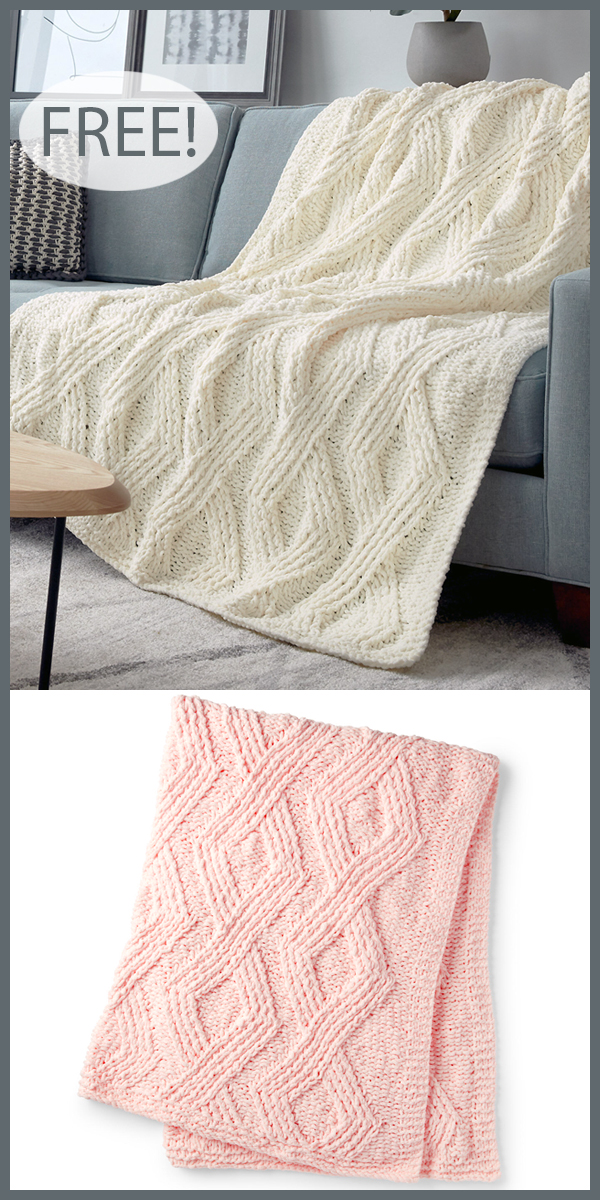 Free Knitting Pattern for Twisted Stitch Diamond Blanket