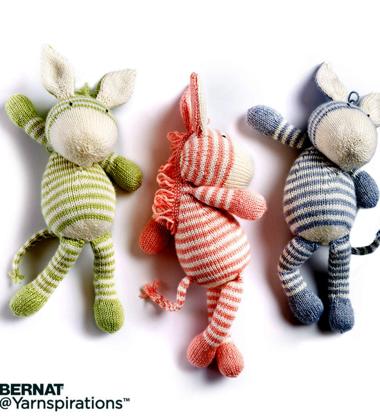 Free Knitting Pattern for Zebra Toy