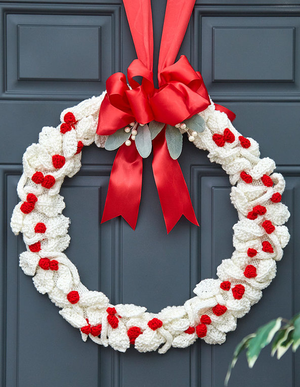 Free Knitting Pattern for Berry Nice Wreath