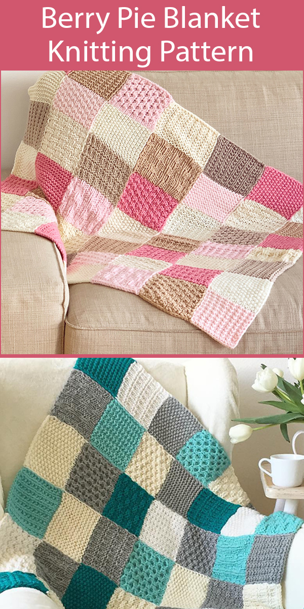 Knitting Pattern for Berry Pie Baby Blanket or Throw - Great Stashbuster