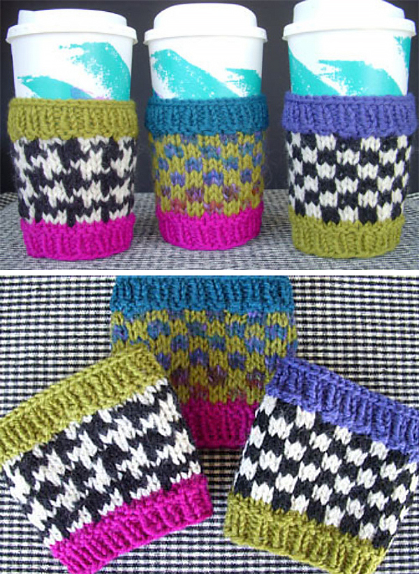 Knitting Pattern for Houndstooth and Checkerboard Cup Cozies