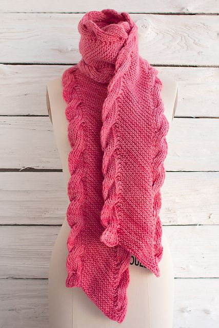 Free knitting pattern for Bias Scarf with Ribbed Cables and more scarf knitting patterns