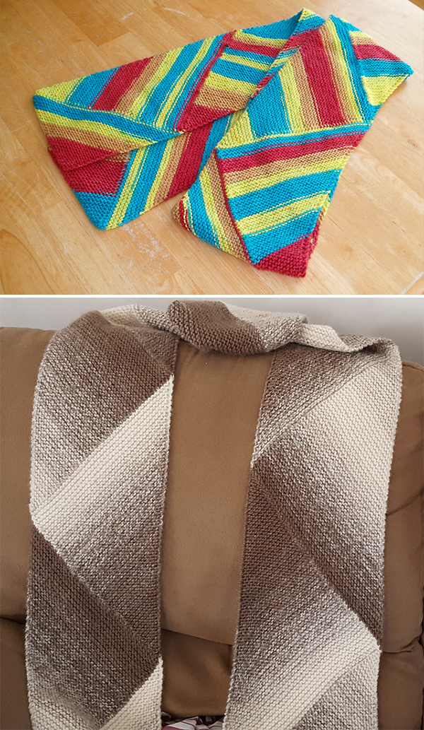 Free knitting pattern for On the Bias Scarf and more colorful scarf knitting patterns
