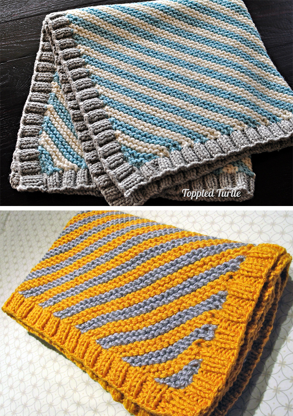 Free Knitting Pattern for Easy Bias Striped Baby Blanket