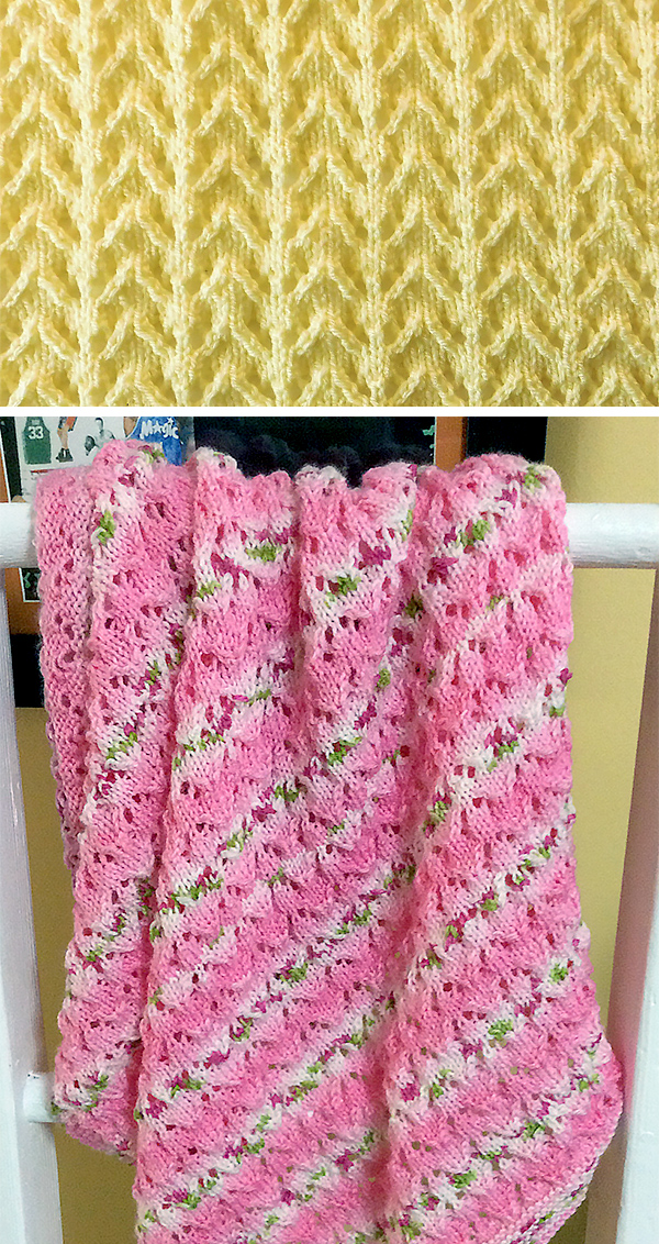 Free Knitting Pattern for 6 Row Repeat Bibi Baby Blanket