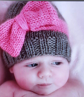 Big Bow Baby Hat free knitting pattern and more baby hat knitting patterns 79f1e1d883b