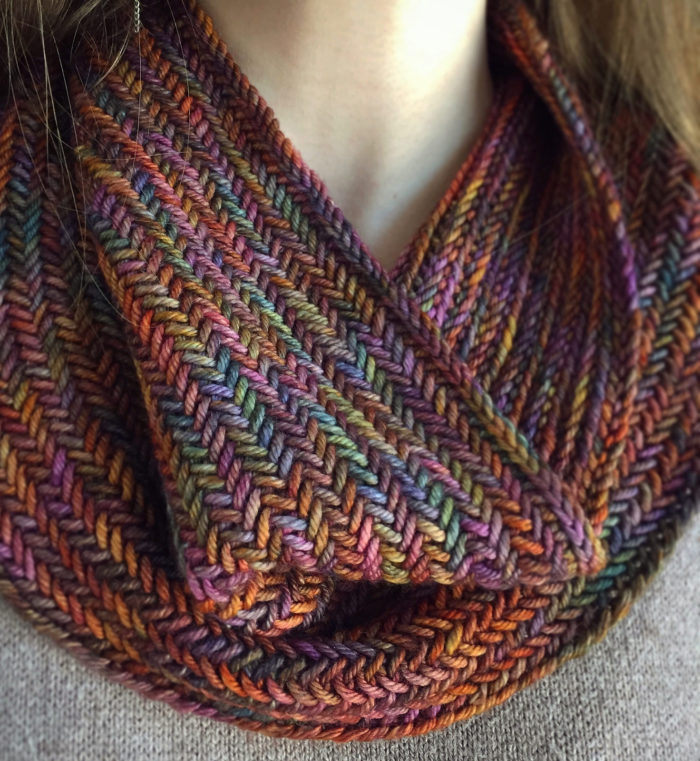 Free Knitting Pattern for Big Herringbone Cowl