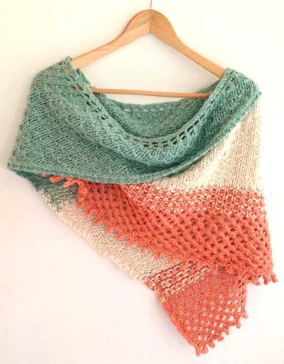 Free Knitting Pattern for Big Island Wrap