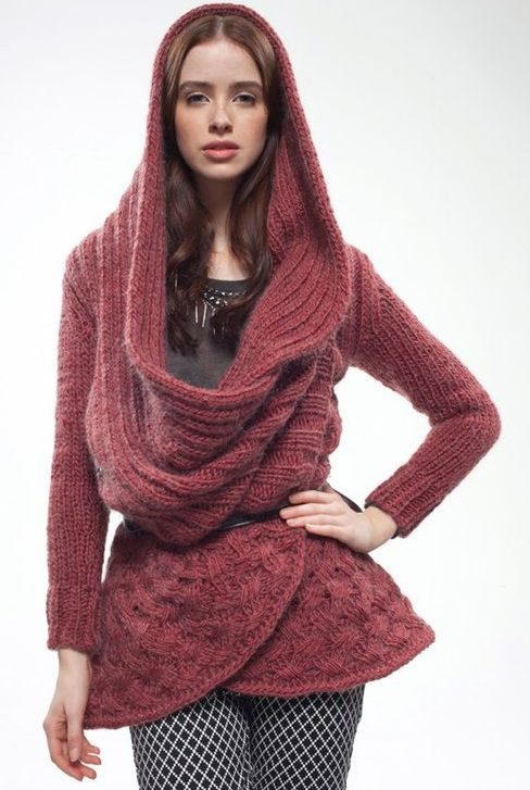 Knitting Pattern Big Red Wrap Cardigan from Rowan