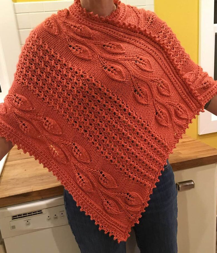 Free Knitting Pattern for Big River Vines Poncho