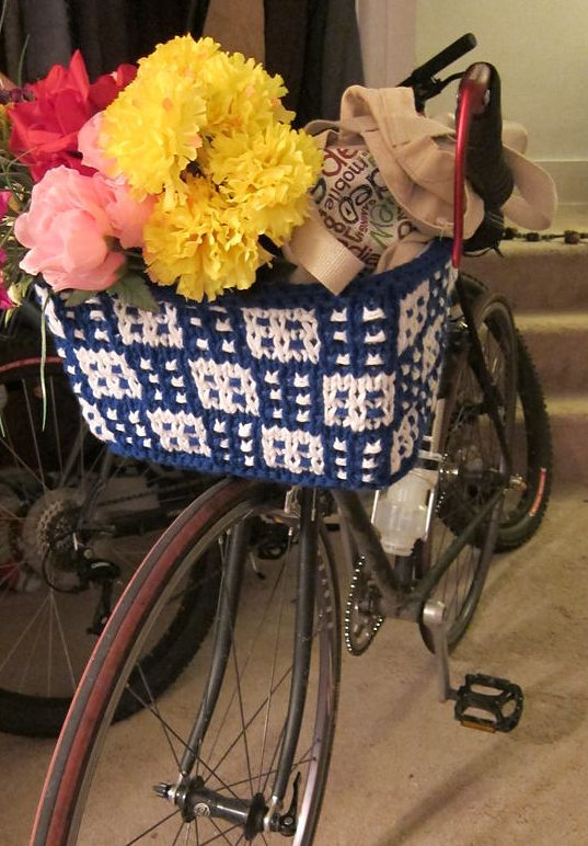 Free Knitting Pattern for Bike Basket