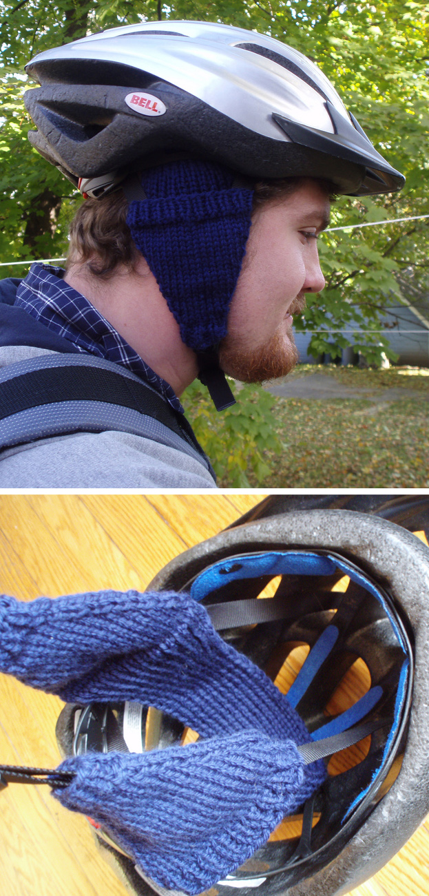 Free Knitting Pattern for Bike Helmet Ear Muffs
