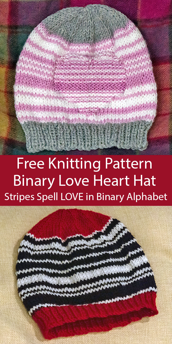 Free Knitting Pattern for Binary Love Heart Hat