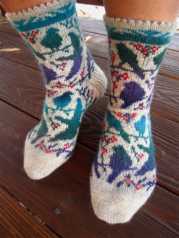 Free Knitting Pattern for Bird Resting Place Socks
