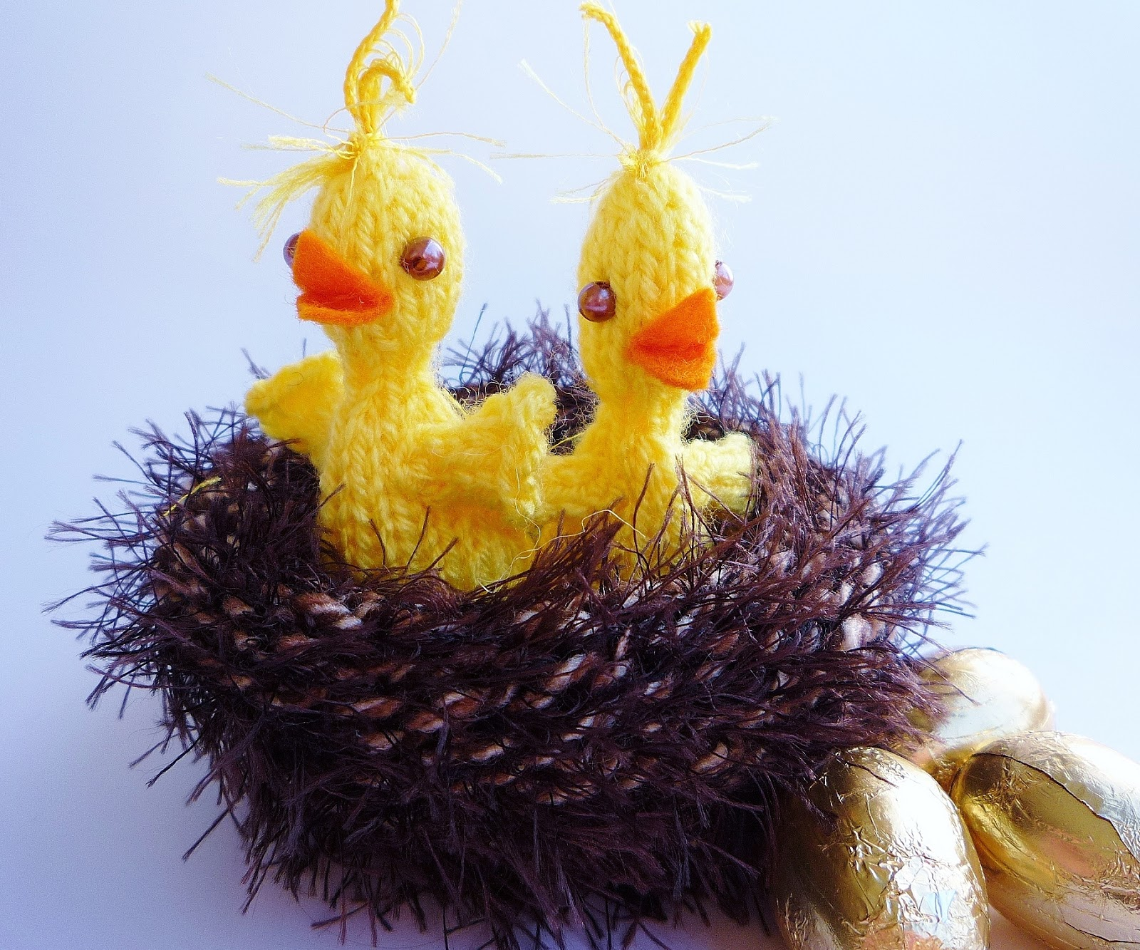 Free Knitting Pattern for Chicks in Nest