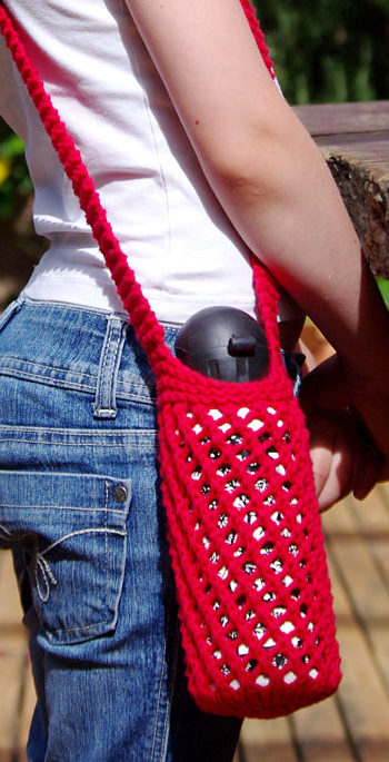 Free Knitting Pattern for Bishi Water Bottle Carrier