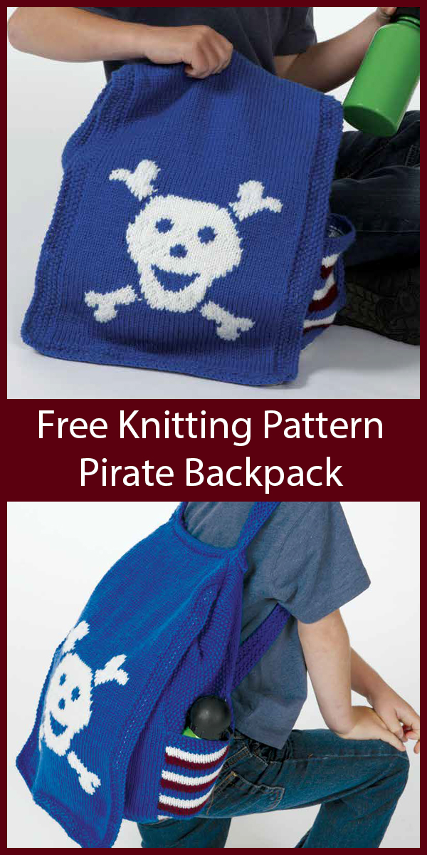 Free Knitting Pattern for Skull and Crossbones Pirate Backpack