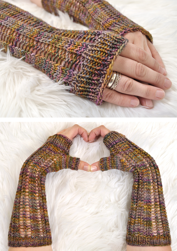Free Knitting Pattern for Easy Black Locust Fingerless Mitts