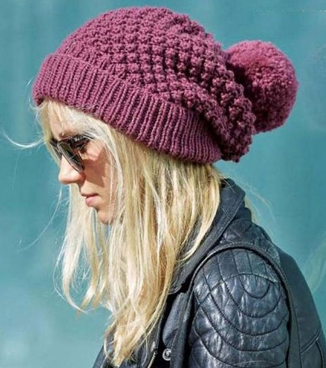 702387c5858 Free knitting pattern for Blackberry Stitch Slouchy Beanie with pompom