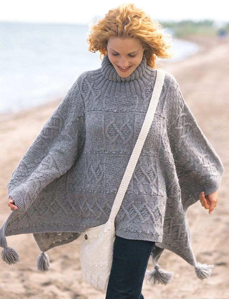 Free Knitting Pattern for Blanket Poncho and Bag