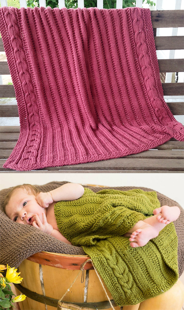 Free Knitting Pattern for Easy Cable Border Baby Blanket