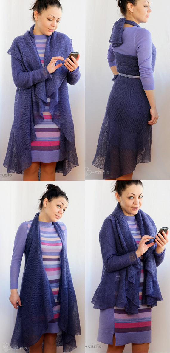 Knitting pattern for convertible cardigan multi-wear