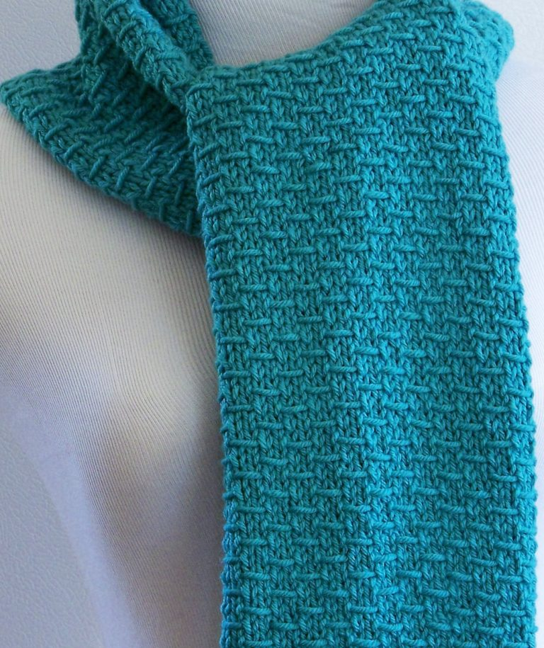 Knitting Pattern Blue Scarf