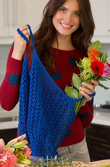Free knitting pattern for Lacy Market Tote knit with one skein of yarn