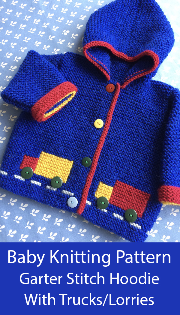 Knitting Pattern for Hooded Garter Stitch Baby Jacket With Trucks or Lorries