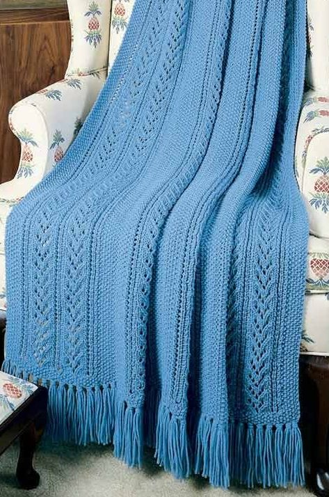 Knitting Pattern for Blue Rhapsody Afghan