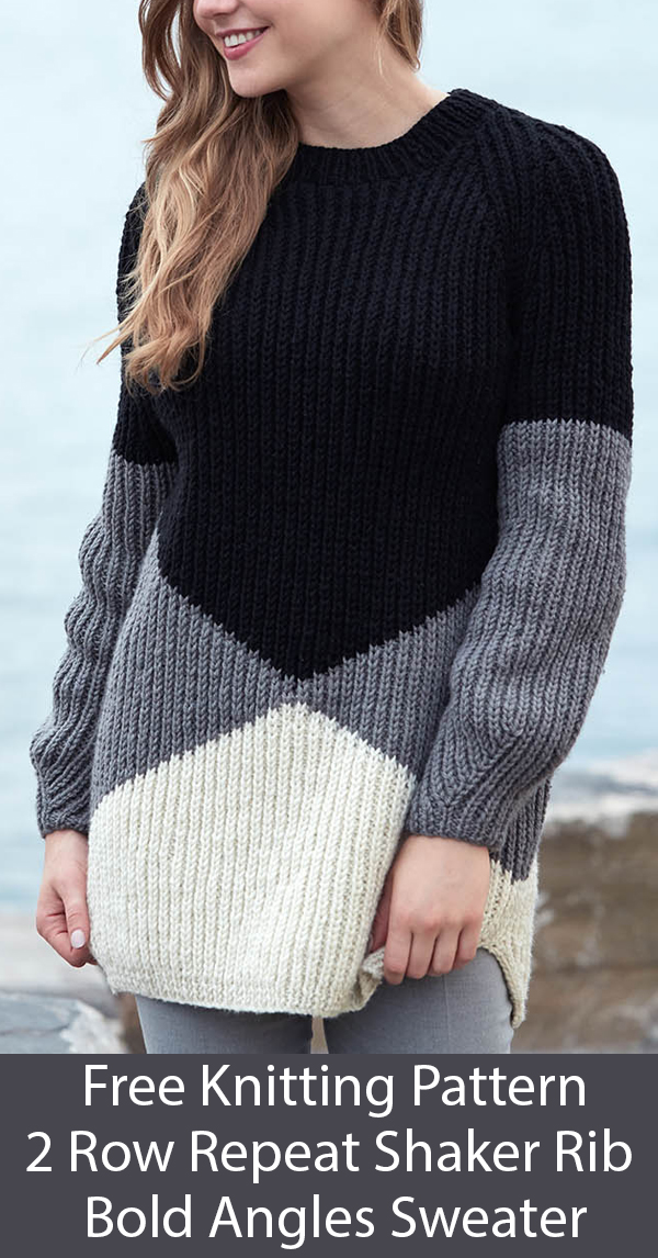 Free Knitting Pattern for 2 Row Repeat Bold Angles Sweater in sizes from XS to 5XL