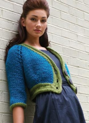 Free knitting pattern for Bold and Bulky Mini Cardigan cropped cardigan with shorter sleeves in bulky yarn