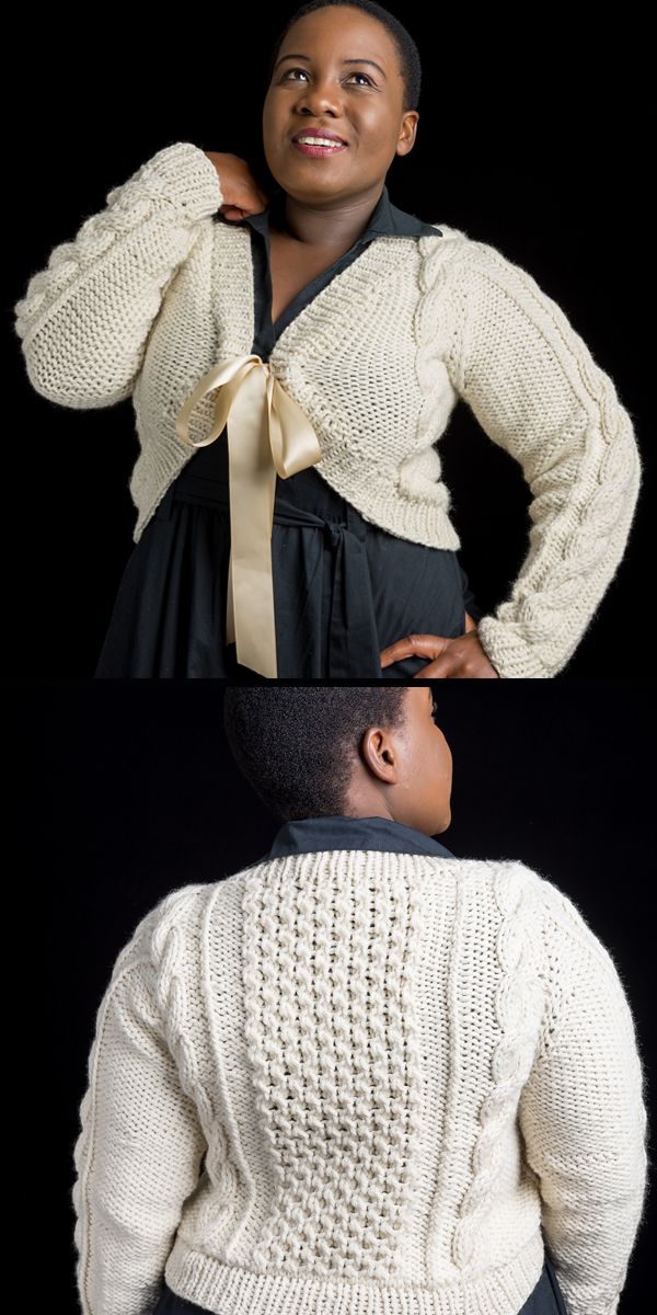 Knitting Pattern for Bontle Cardigan Shrug Sizes XS to 5XL