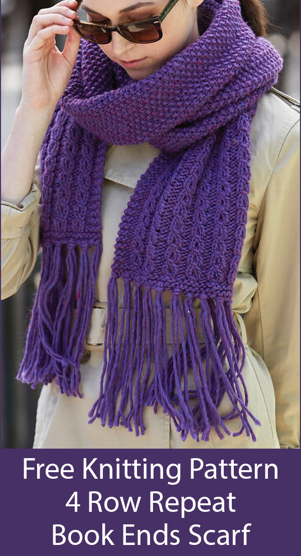 Free Knitting Pattern for Easy Book Ends Scarf