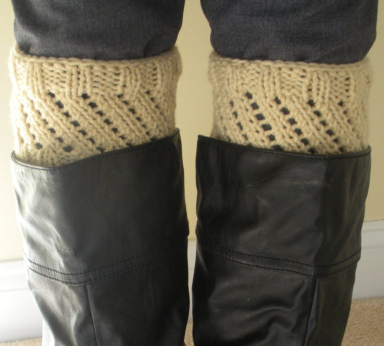 Knitting Pattern for 2 Row Repeat Boot Cuffs