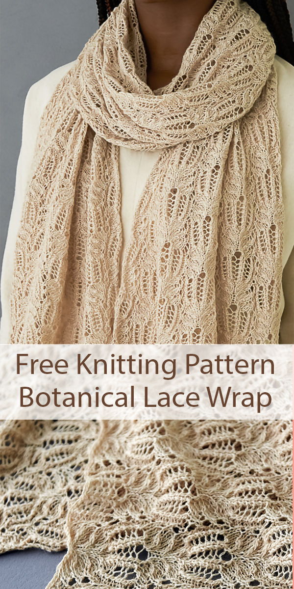 Free Knitting Pattern for Botanical Lace Wrap Shawl