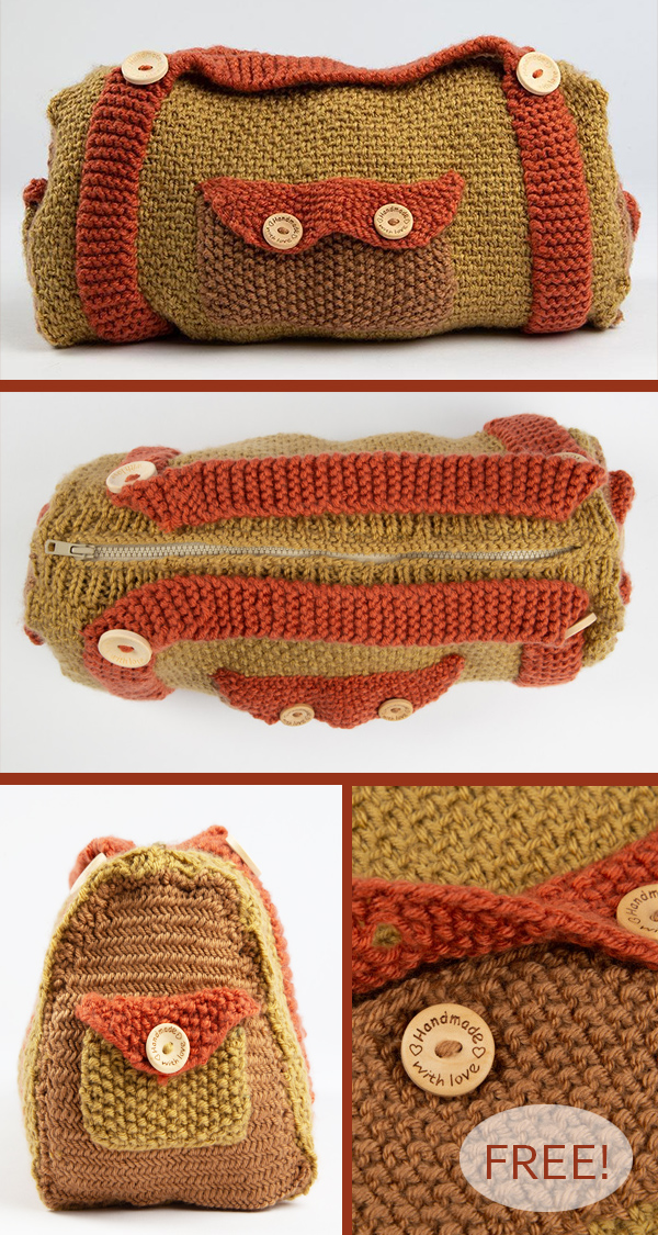 Free Knitting Pattern for Duffle Bag