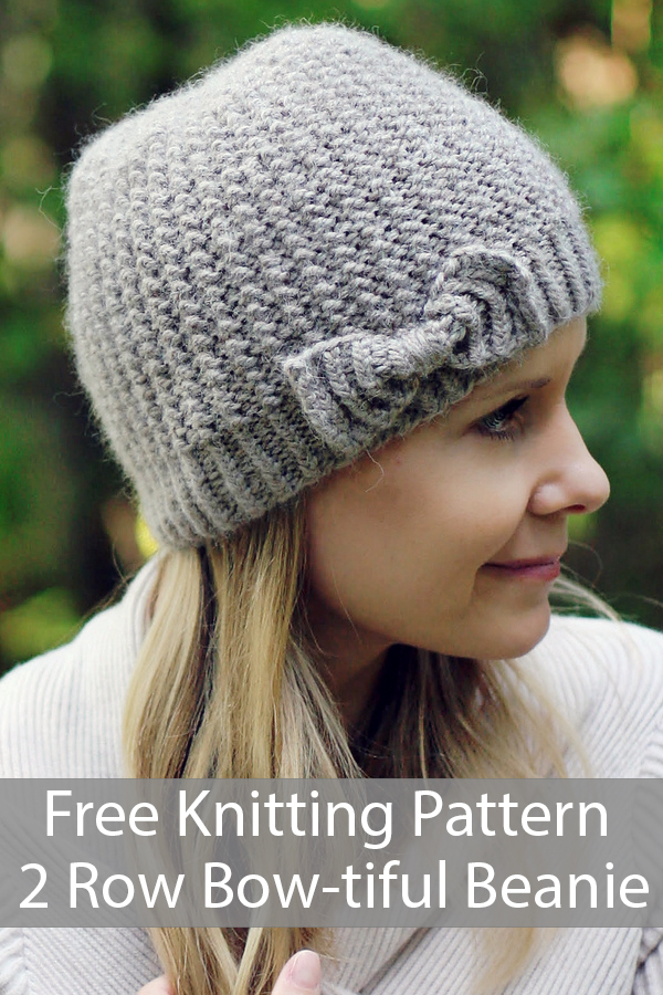 Free Knitting Pattern for 2 Row Repeat Bow-tiful Beanie