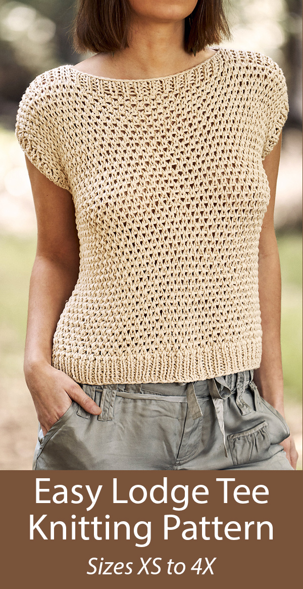Knitting pattern for Easy Lodge Tee Top Sizes XS to 4X