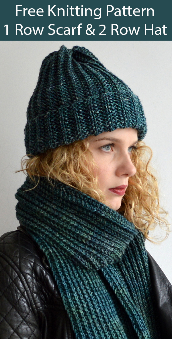 Free Knitting Pattern for Boyfriend Set 1 Row Scarf and 2 Row Hat
