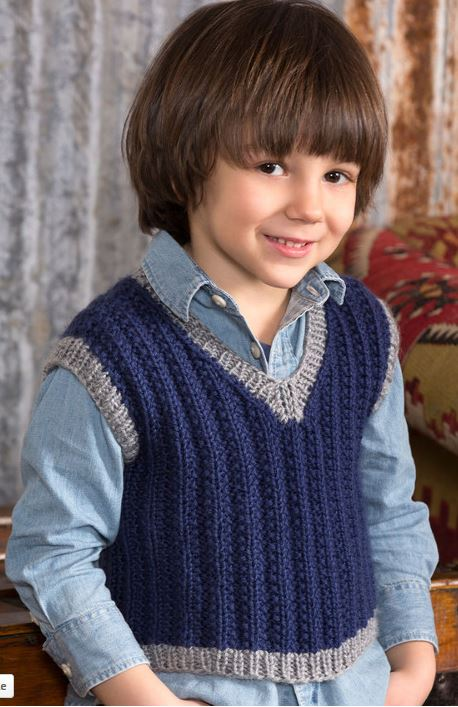 Free Knitting Pattern for Boy's Seeded Rib Vest