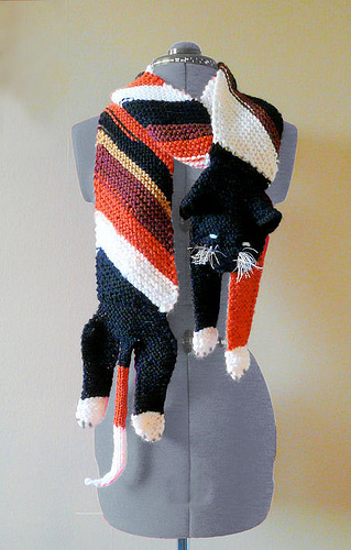 Bracken Cat Scarf Free Knitting Pattern and more fun knitting patterns