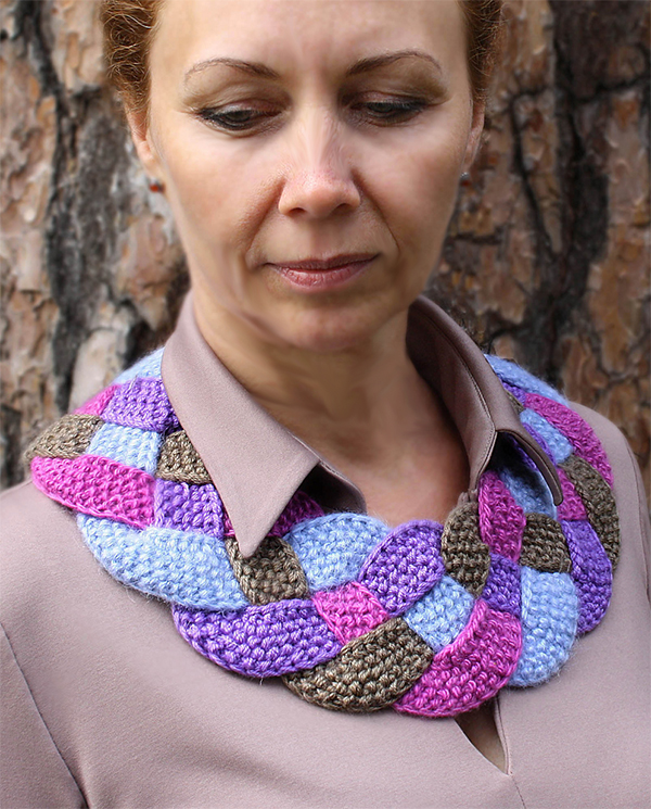 Free Knitting Pattern for Easy Braid-It Bright Cowl