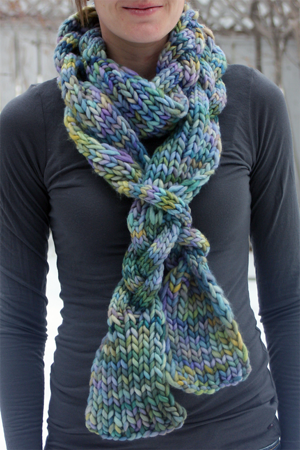 Free Knitting Pattern for Braided Scarf