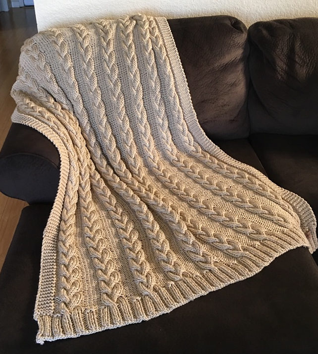Free Knitting Pattern for Braided Cable Throw