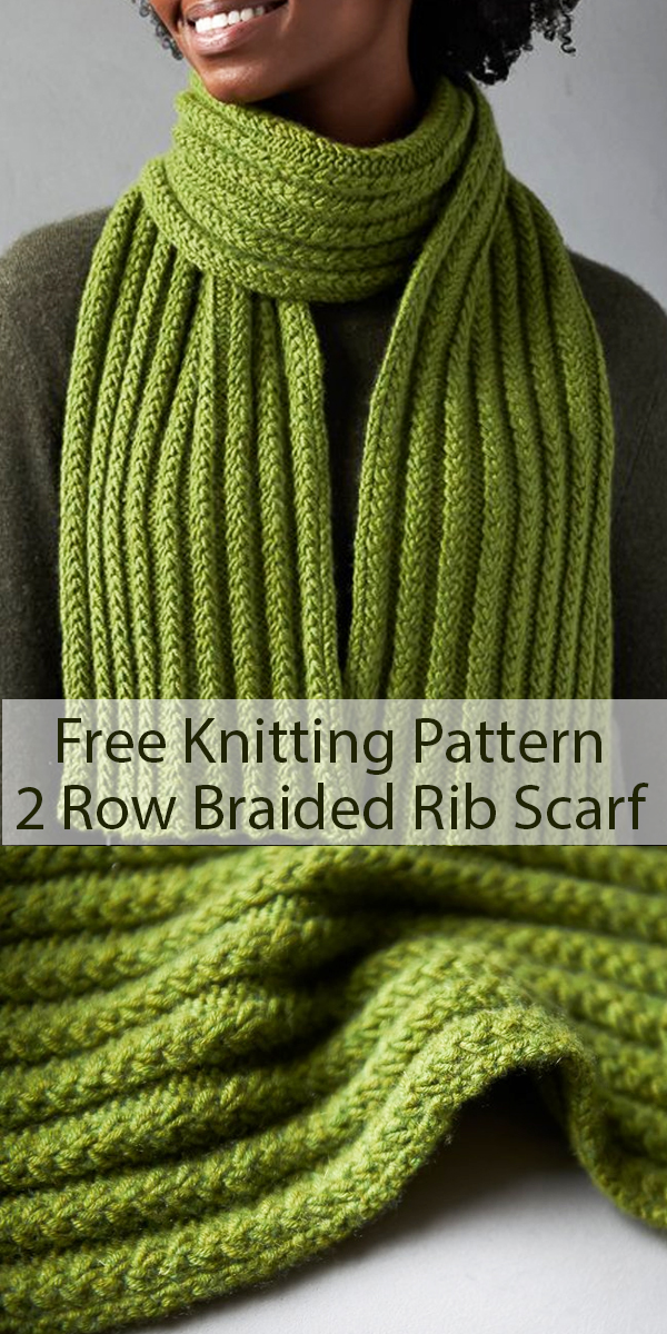 Free Knitting Pattern for 2 Row Repeat Braided Rib Scarf