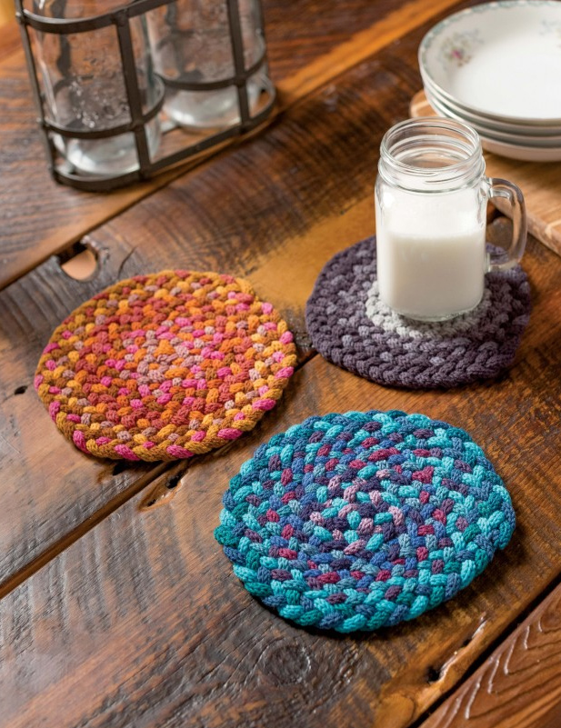 Knitting Pattern for Braided Trivets using i-cords