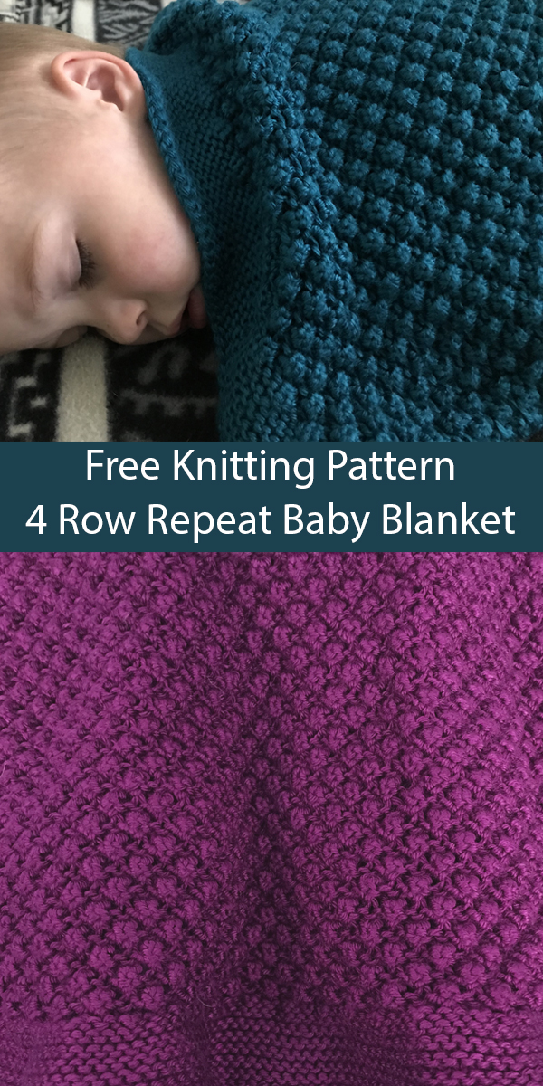 Free Knitting Pattern for 4 Row Repeat Bramble Baby Blanket