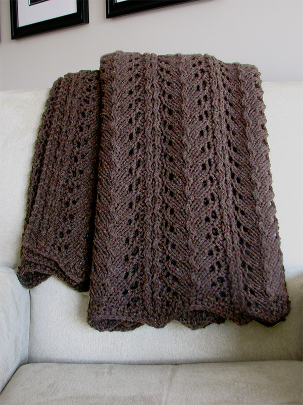 Knitting Pattern for 4 Row Repeat Branch Blanket